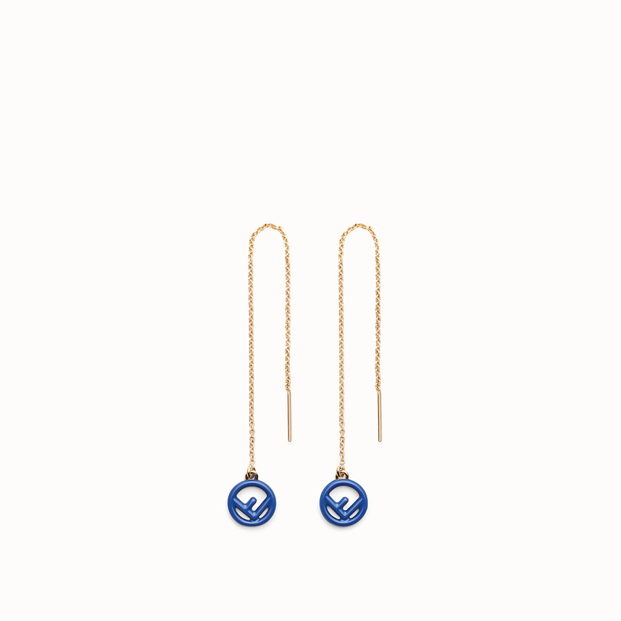 FENDI F IS FENDI EARRINGS - Gold and blue coloured earrings - view 1 detail
