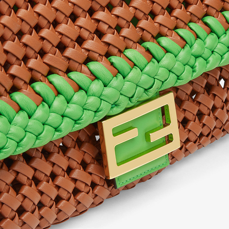 FENDI BAGUETTE - Brown leather interlace bag - view 6 detail