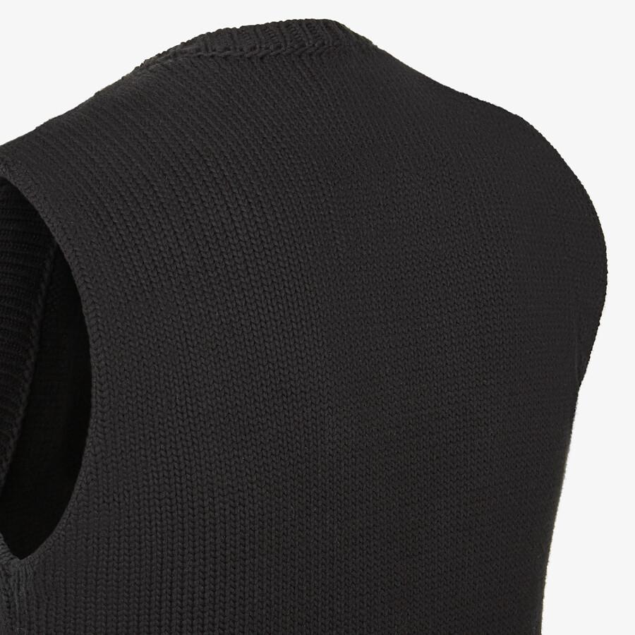 FENDI GILET - Black cotton and silk gilet - view 3 detail