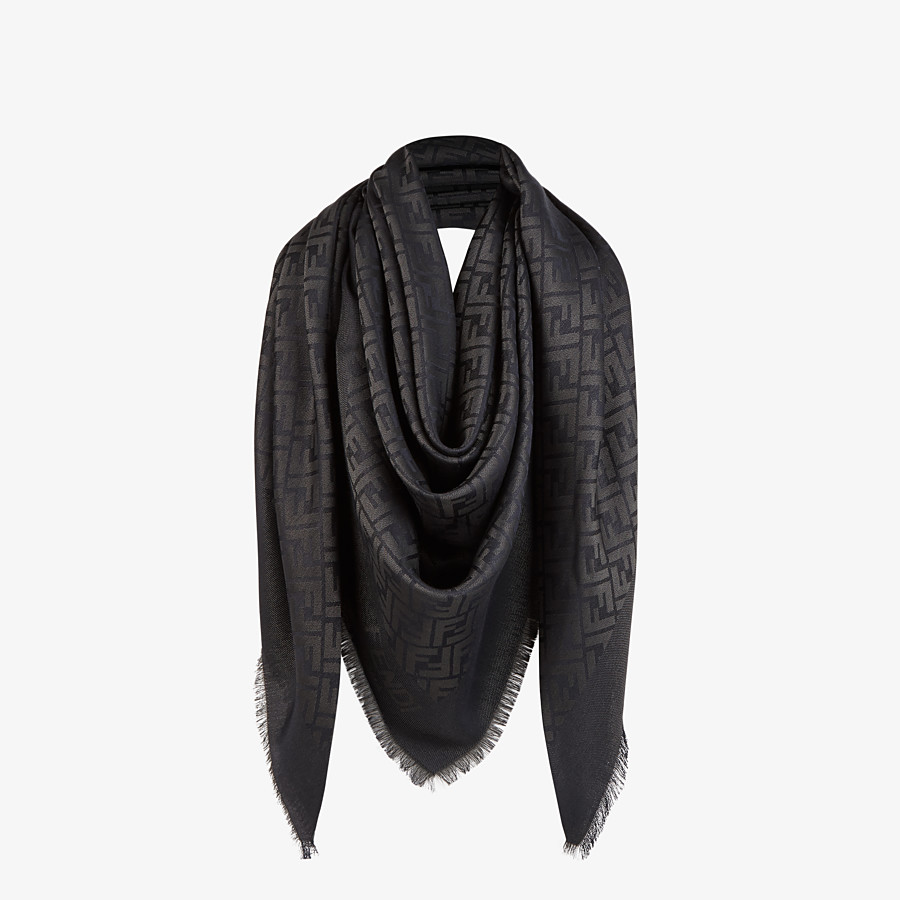 FENDI FF SHAWL - Black silk, viscose and wool shawl - view 2 detail