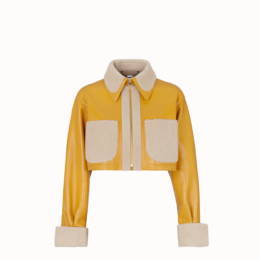 FENDI JACKET - Yellow shearling jacket - view 1 detail