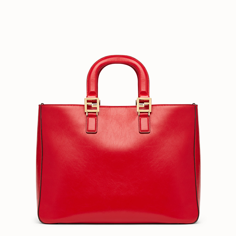 FENDI FF TOTE MEDIUM - Red leather bag - view 4 detail
