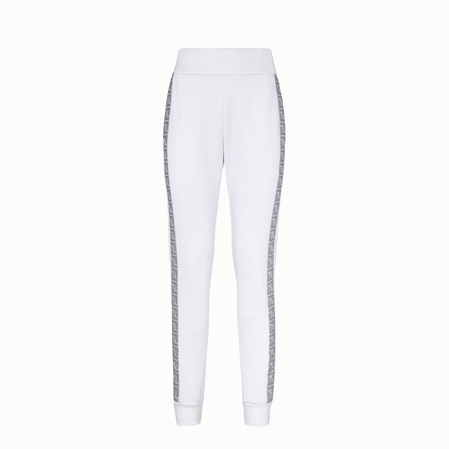 FENDI TROUSERS - White jersey jogging trousers - view 1 detail