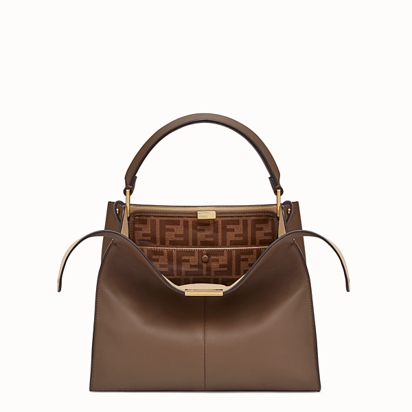 FENDI PEEKABOO X-LITE MEDIUM - Borsa in pelle marrone - vista 1 thumbnail piccola