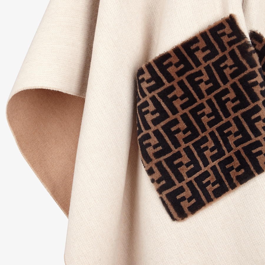FENDI PONCHO - Beige wool and cashmere poncho - view 3 detail