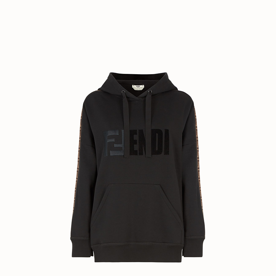 FENDI SWEATSHIRT - Black cotton hoodie - view 1 detail