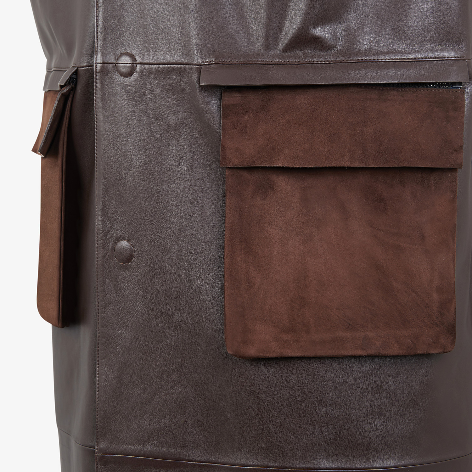 FENDI TRENCH COAT - Brown leather vest - view 3 detail