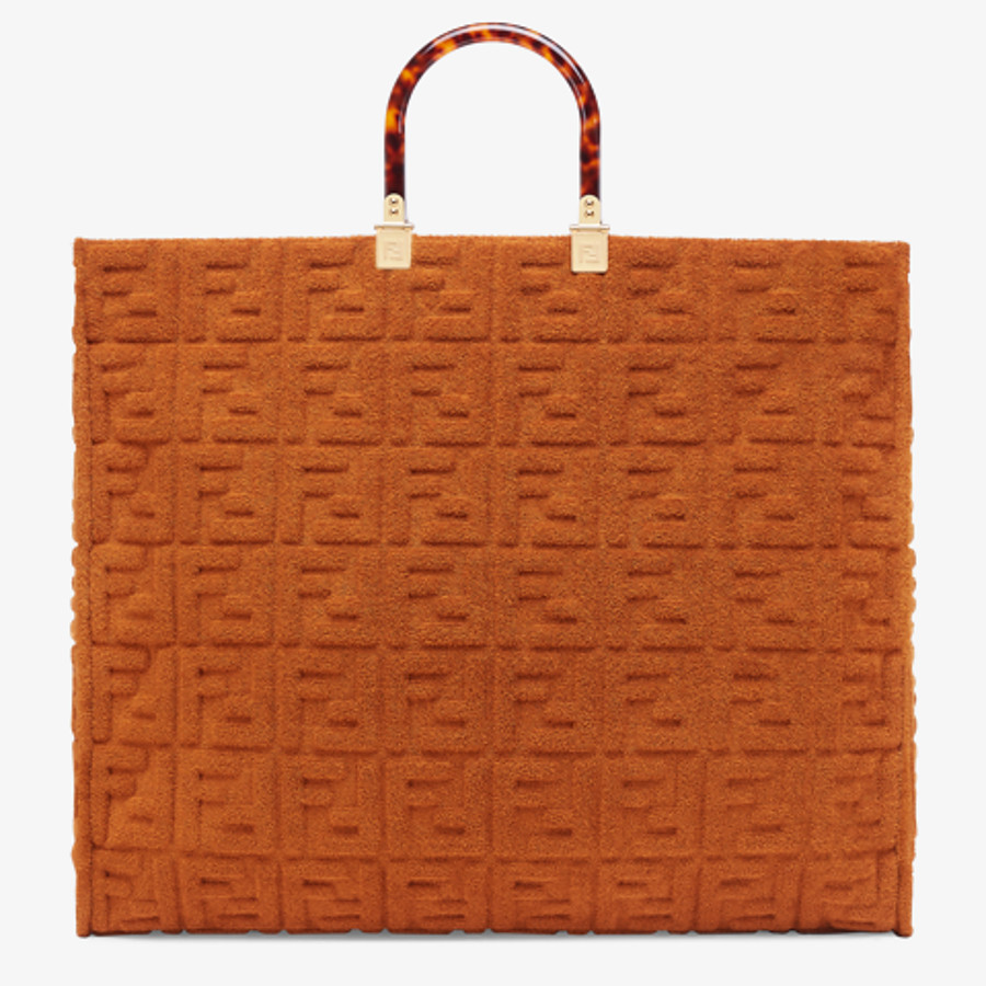 FENDI SUNSHINE SHOPPER - Shopper in brown terrycloth - view 1 detail