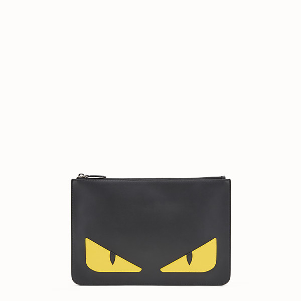 FENDI POUCH - Black and yellow leather pouch - view 1 small thumbnail