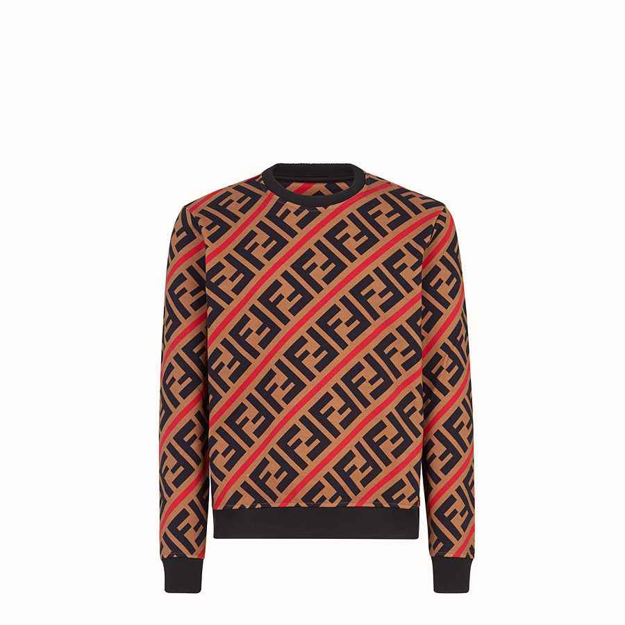 FENDI SWEATSHIRT - Beige cotton sweatshirt - view 1 detail