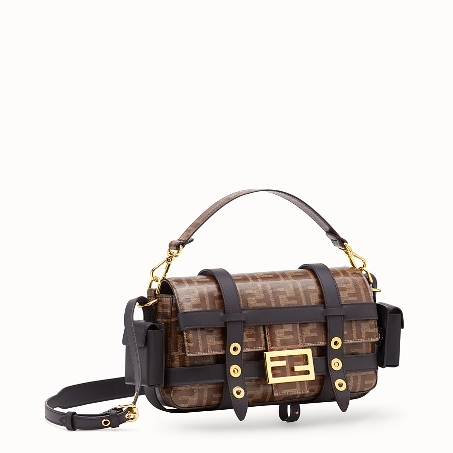 FENDI BAGUETTE WITH CAGE - Brown fabric bag - view 4 detail