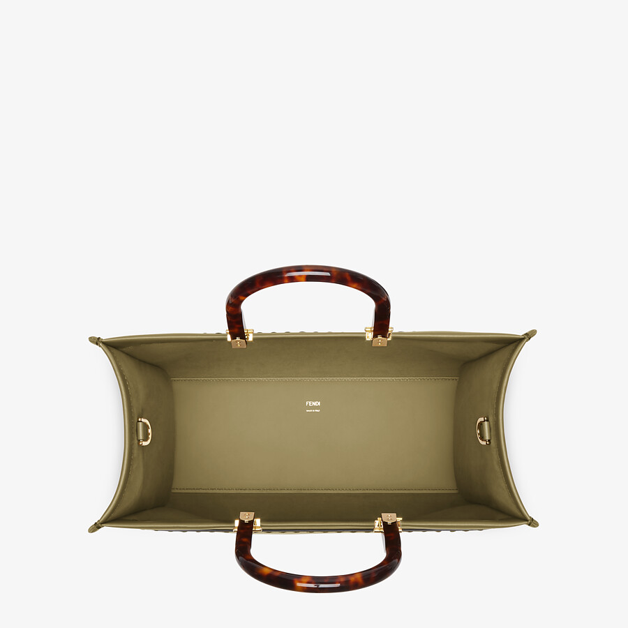 FENDI FENDI SUNSHINE MEDIUM - Green leather shopper - view 4 detail