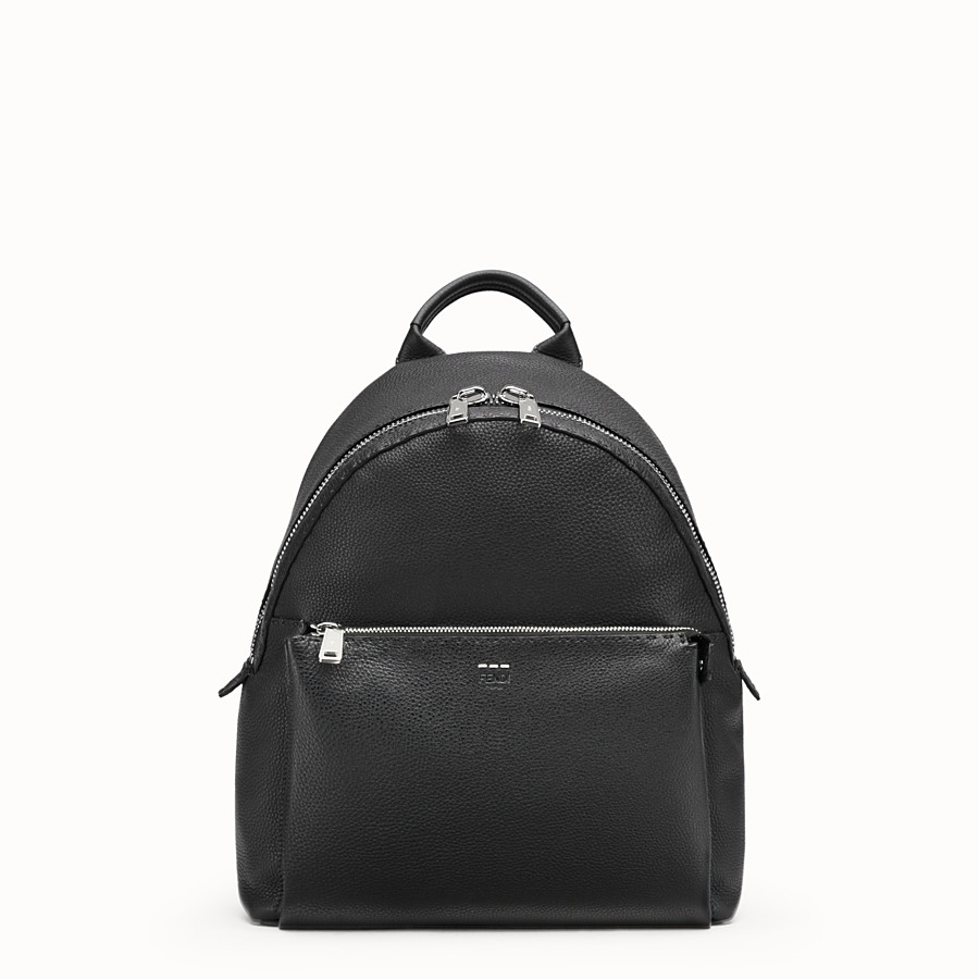 FENDI BACKPACK - Black Selleria backpack with stitching - view 1 detail