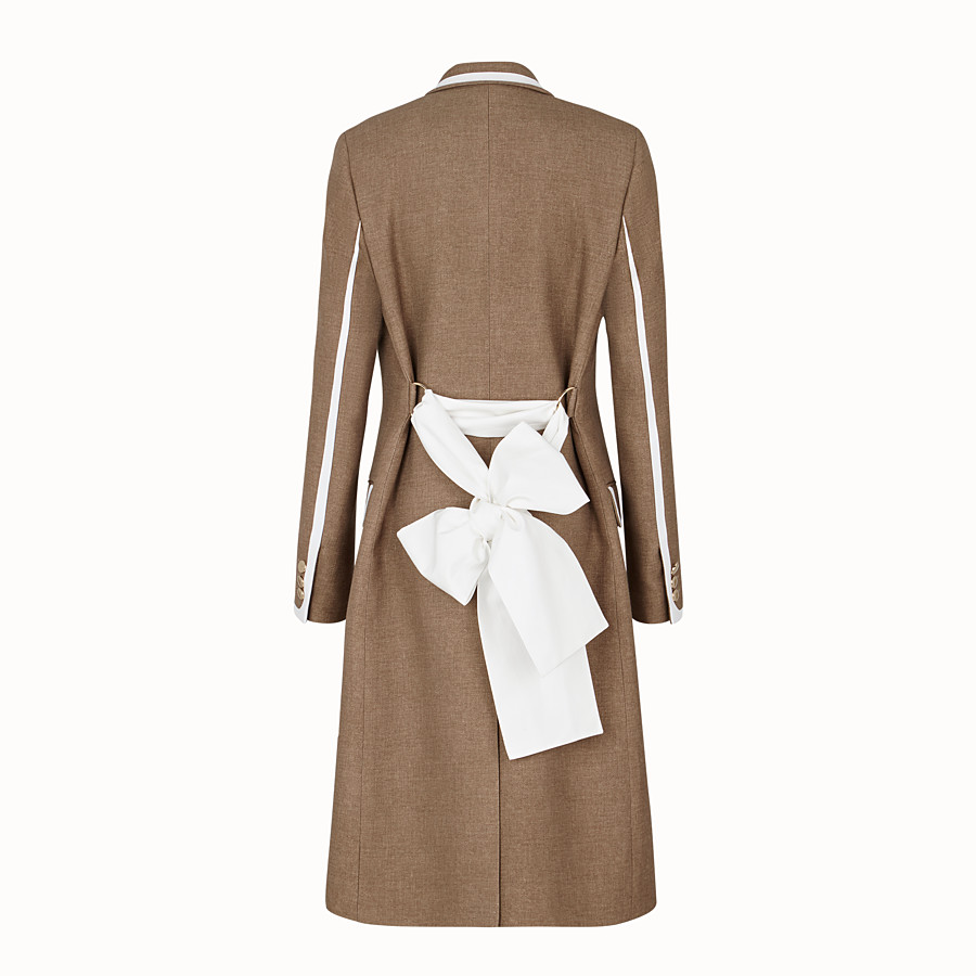 FENDI COAT - Beige silk and wool coat - view 2 detail