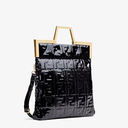 FENDI FLAT SHOPPING BAG MEDIUM - Black vinyl shopper bag - view 4 thumbnail