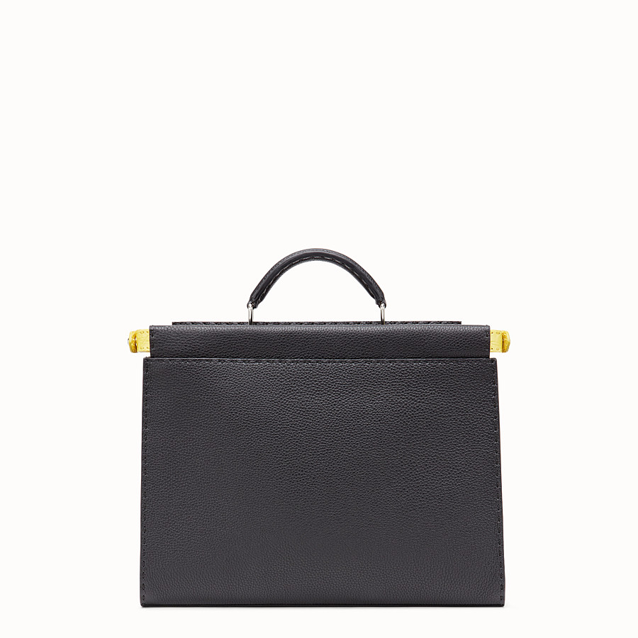 FENDI PEEKABOO FIT - Black Roman leather bag with exotic leather details - view 3 detail