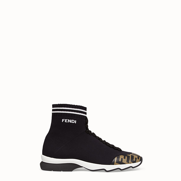 FENDI SNEAKERS - Black fabric sneaker boots - view 1 small thumbnail