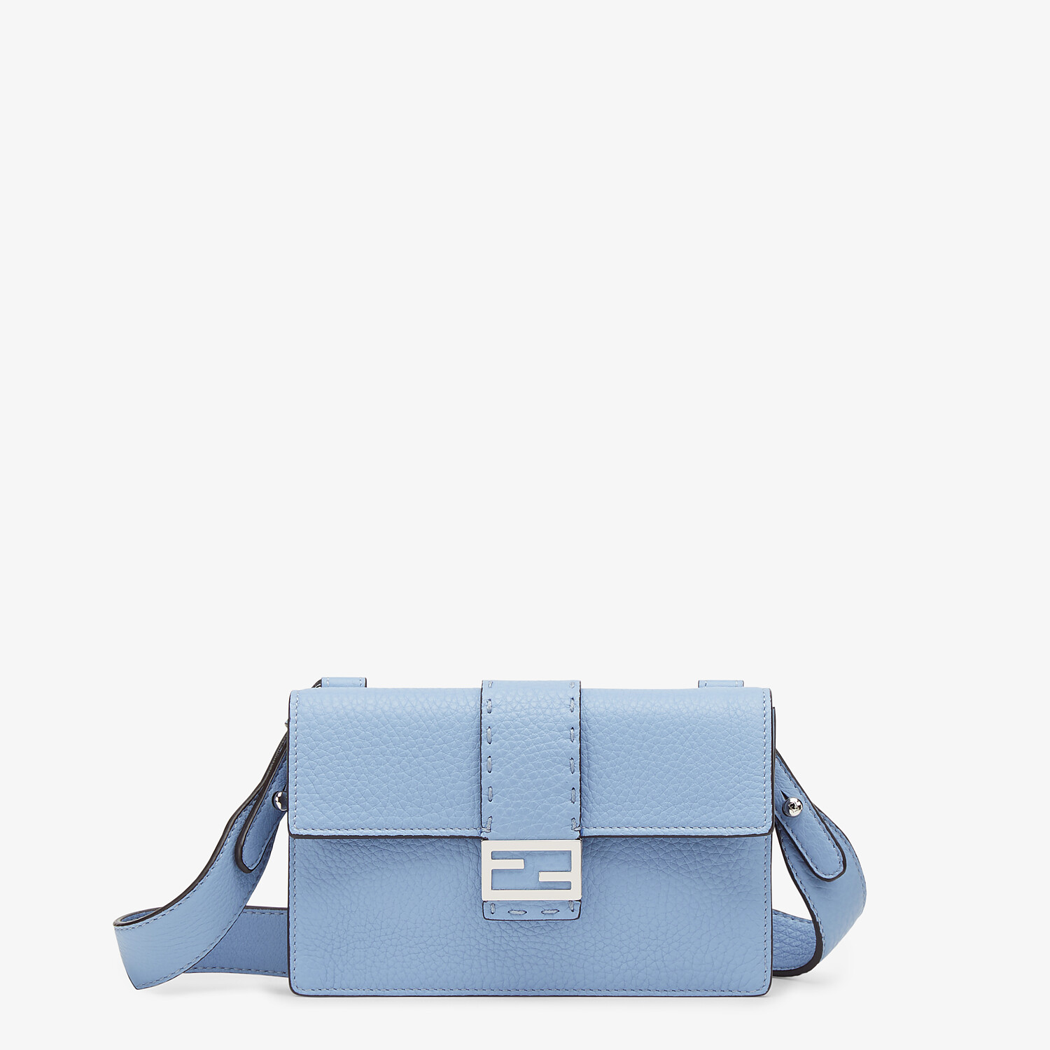 FENDI BAGUETTE POUCH - Light blue leather bag - view 1 detail