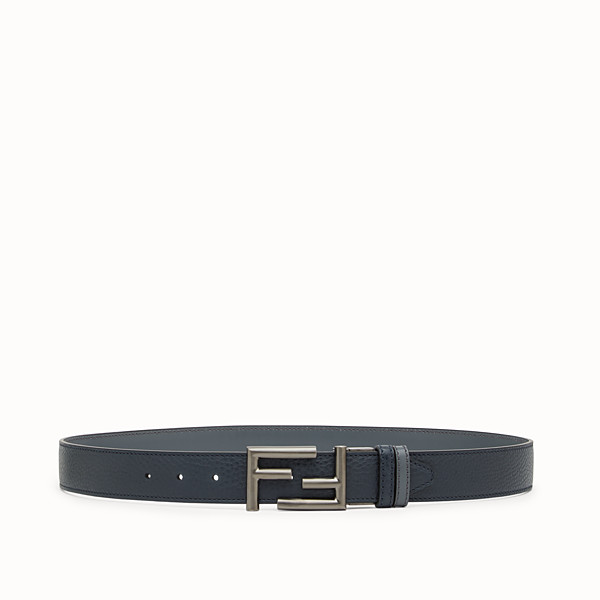 FENDI BELT - in blackboard blue Roman leather and black leather - view 1 small thumbnail