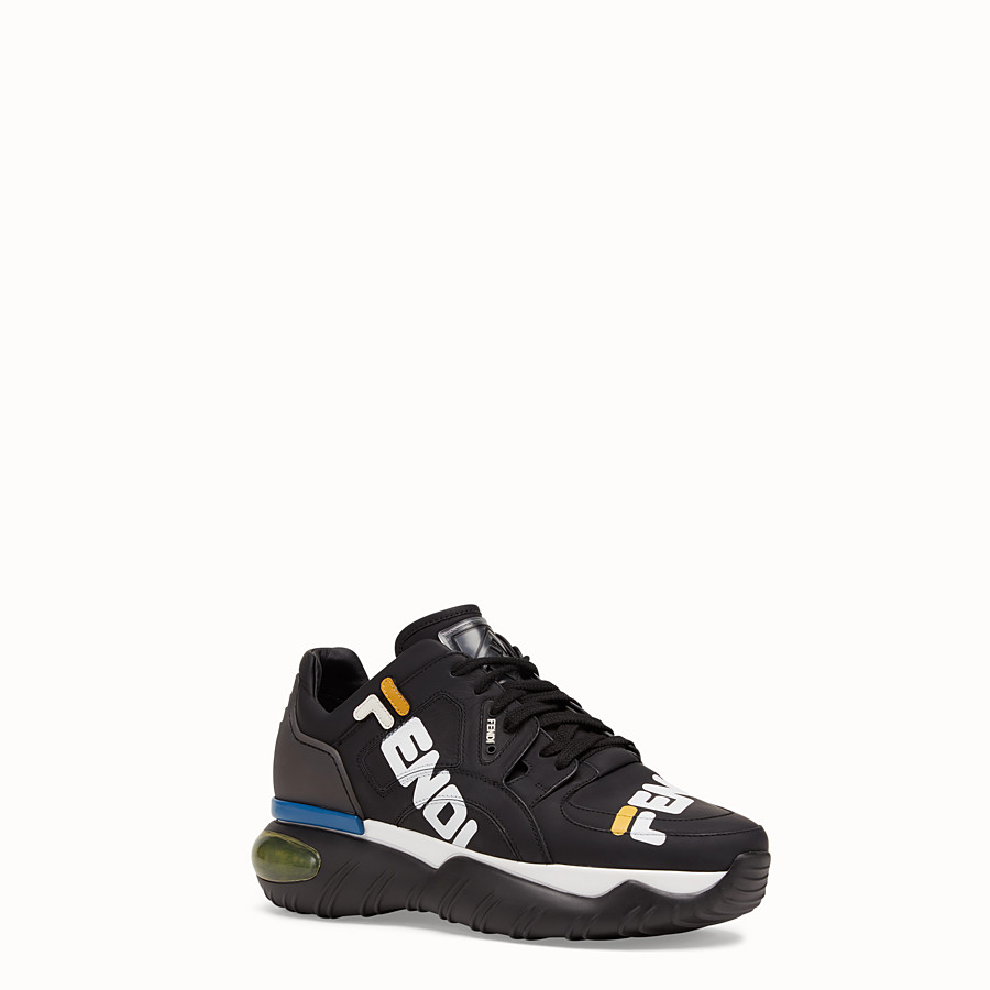 FENDI SNEAKERS - Black nappa leather low tops - view 2 detail