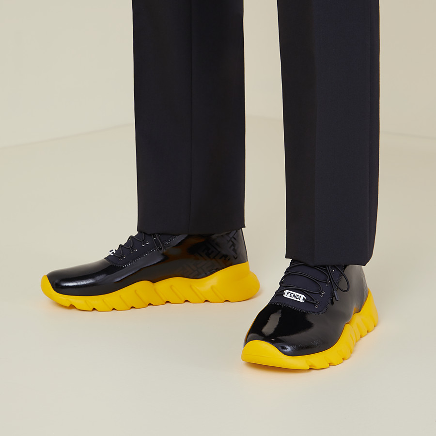 FENDI SNEAKERS - High-tops in black patent leather and fabric - view 5 detail