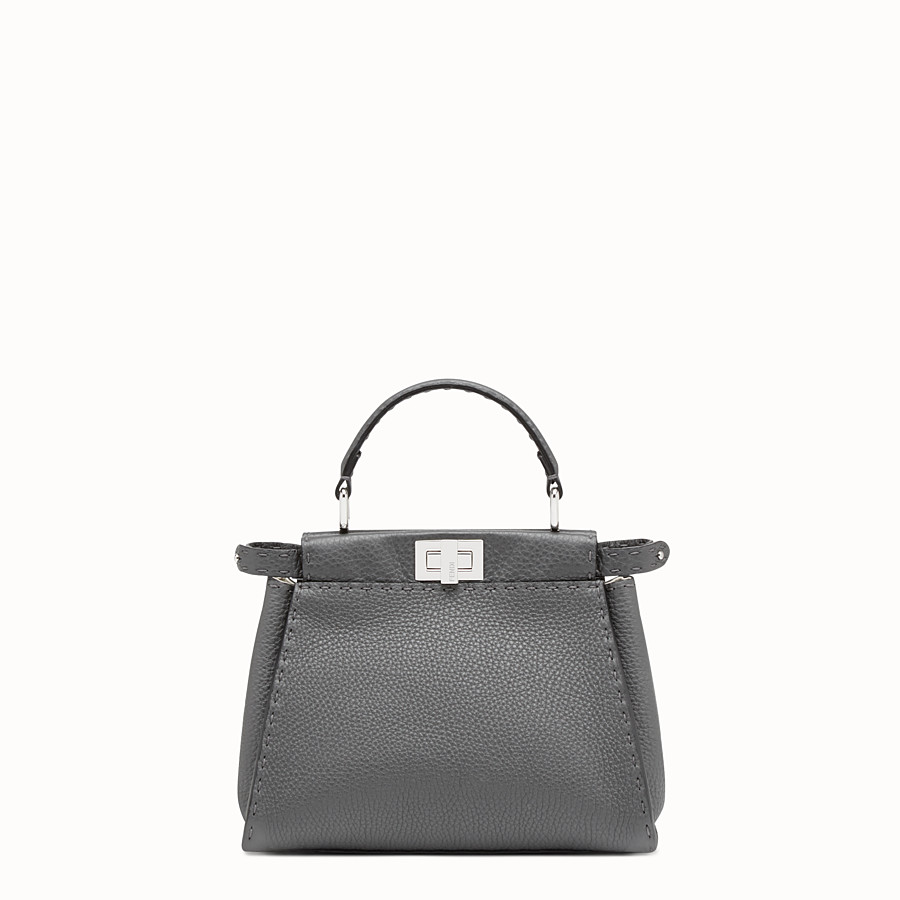 FENDI PEEKABOO ICONIC MINI - Asphalt-grey Selleria handbag - view 1 detail