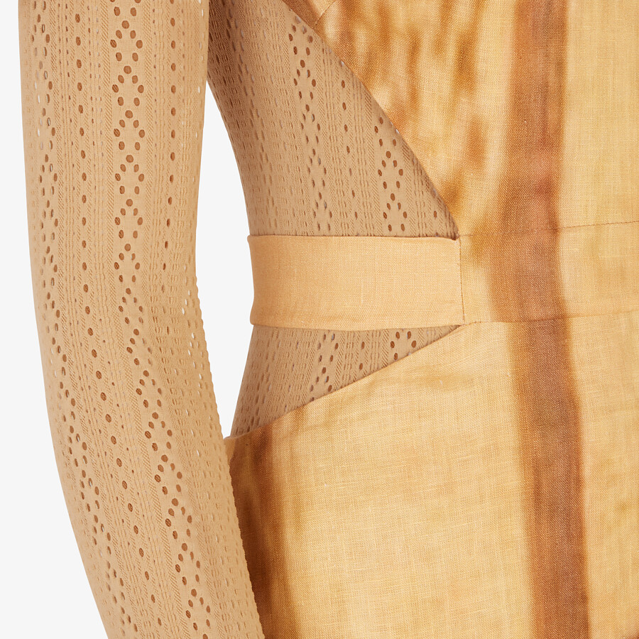 FENDI DRESS - Yellow linen dress - view 3 detail