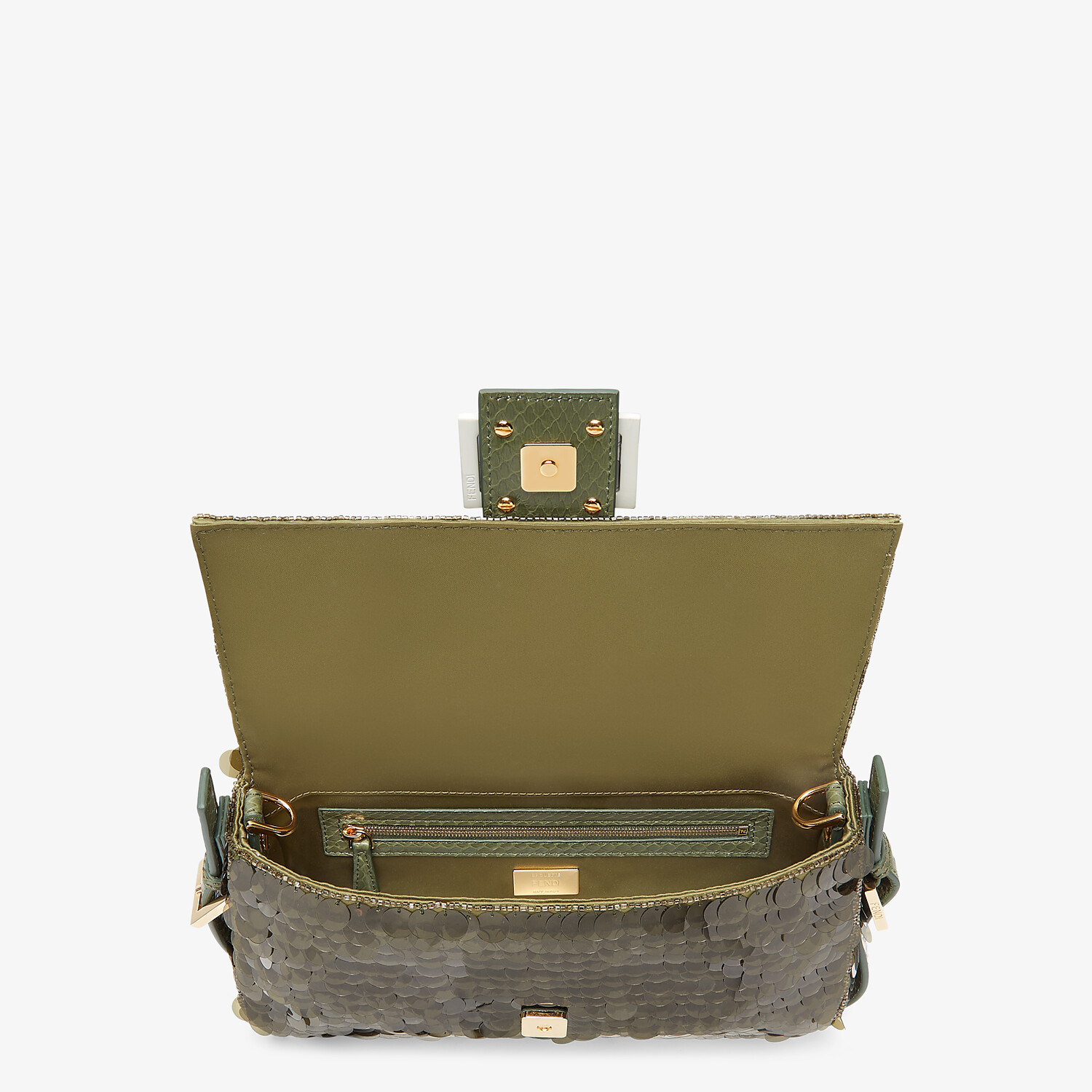FENDI BAGUETTE 1997 - Green satin bag with sequins - view 4 detail