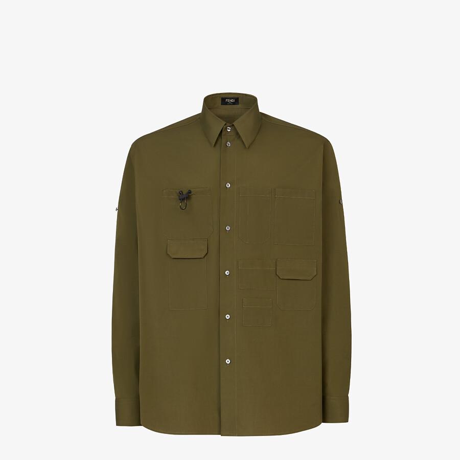 FENDI SHIRT - Green poplin shirt - view 1 detail