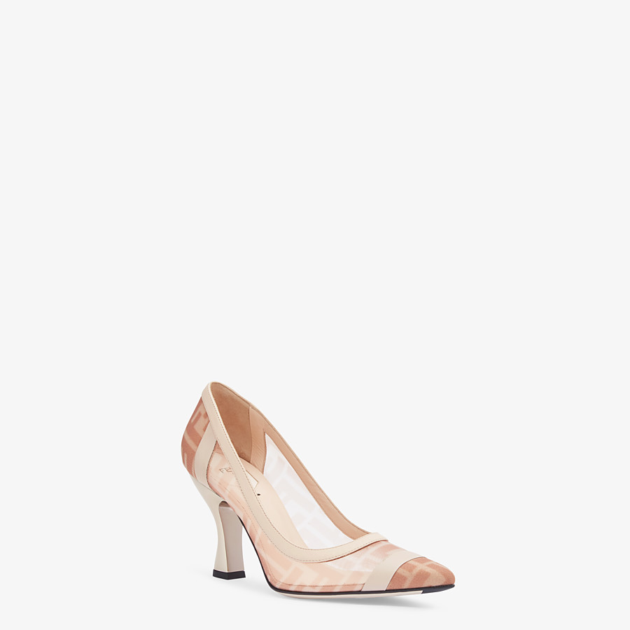 FENDI PUMPS - Colibrì in pink mesh and nude leather - view 2 detail