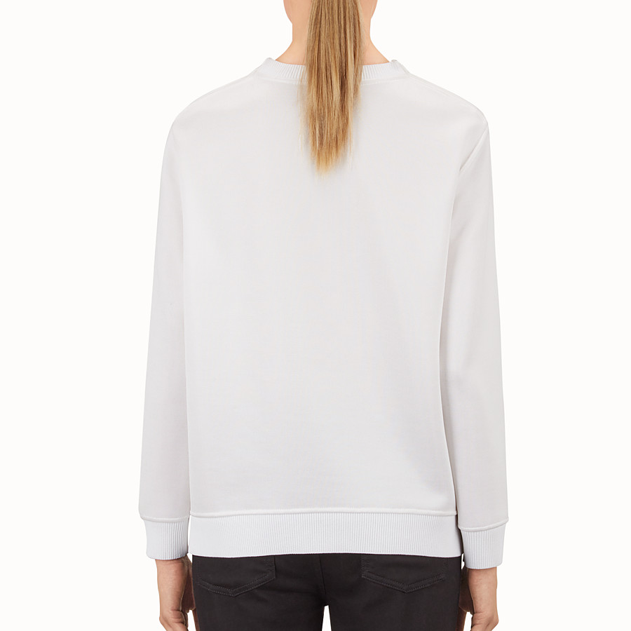 FENDI SWEATSHIRT - in white jersey with fur embroidery - view 2 detail