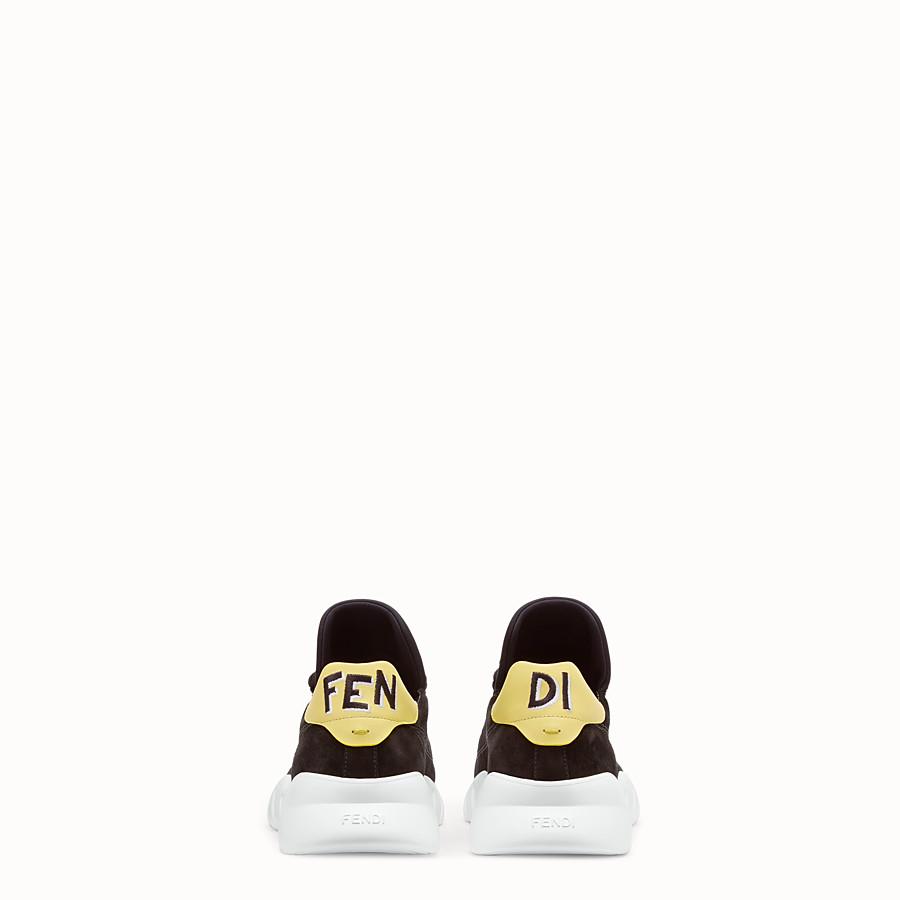 FENDI SNEAKERS - Chaussures basses en croûte de cuir noir - view 3 detail