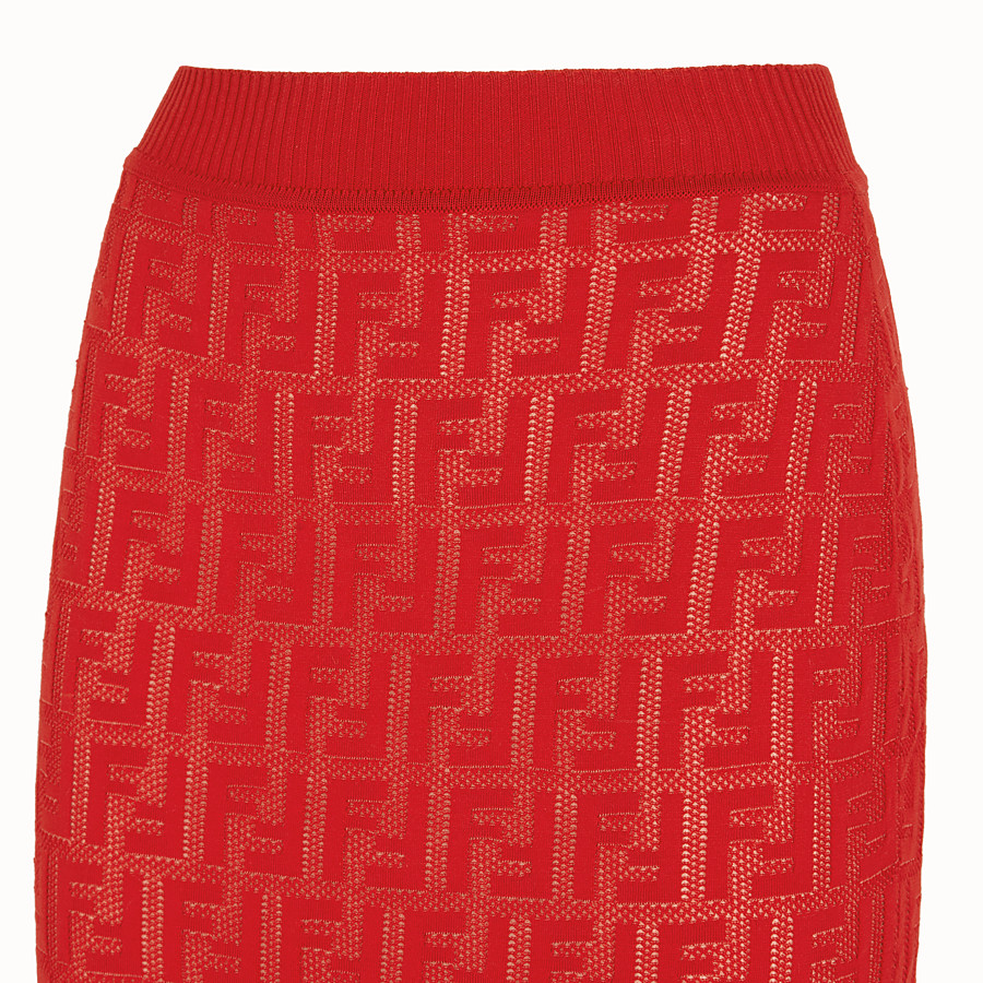 FENDI SKIRT - Red cotton skirt - view 3 detail