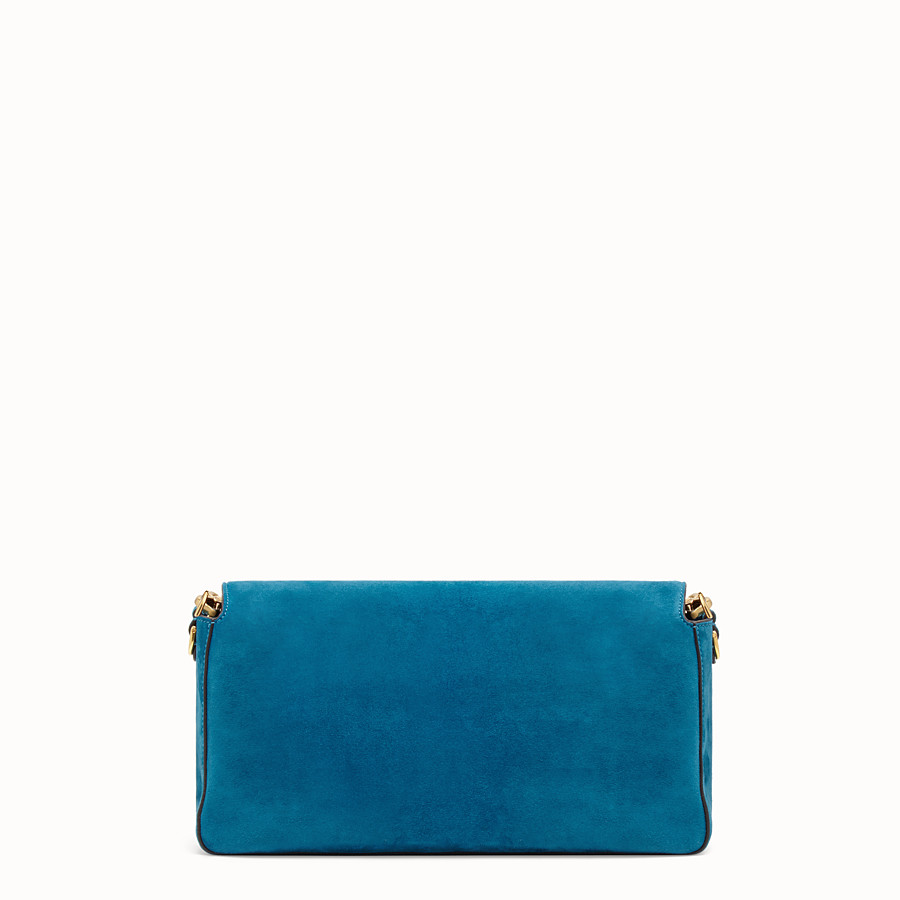 FENDI BAGUETTE LARGE - Light blue suede bag - view 4 detail