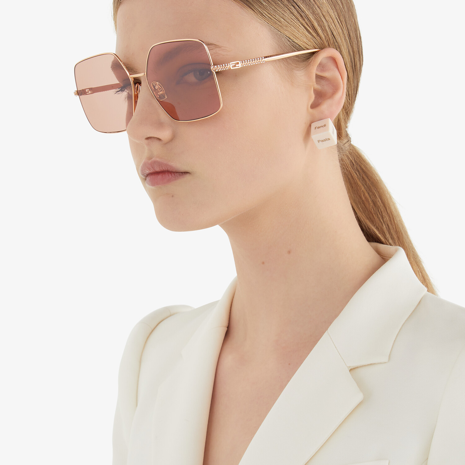 FENDI BAGUETTE - Rose-gold-colored sunglasses - view 4 detail