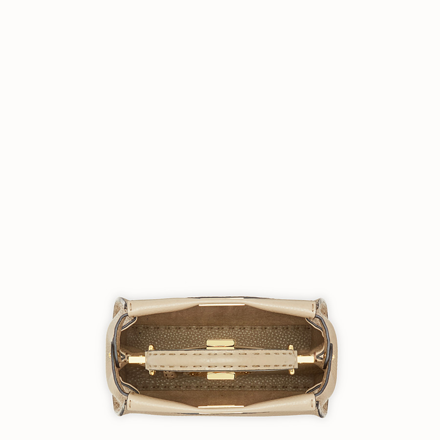 FENDI PEEKABOO MINI - Beige leather bag - view 4 detail
