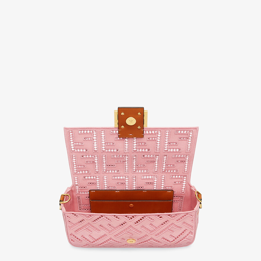 FENDI BAGUETTE - Pink canvas bag with embroidery - view 5 detail