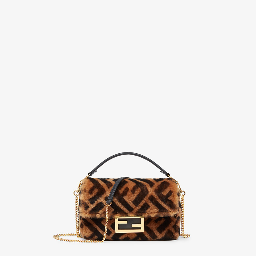 FENDI MINI BAGUETTE - Brown sheepskin bag - view 1 detail