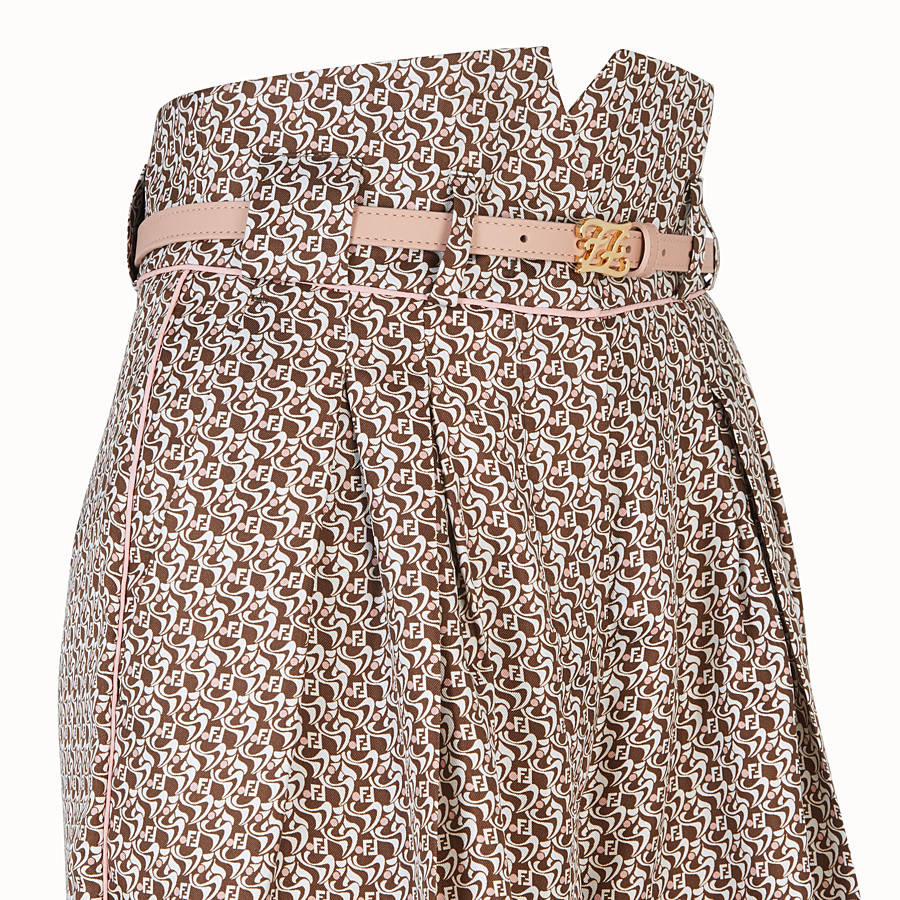 FENDI TROUSERS - Bermudas in brown and pink silk - view 3 detail