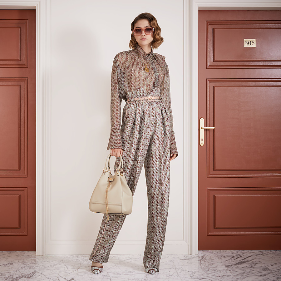 FENDI TROUSERS - Brown and pink silk trousers - view 4 detail