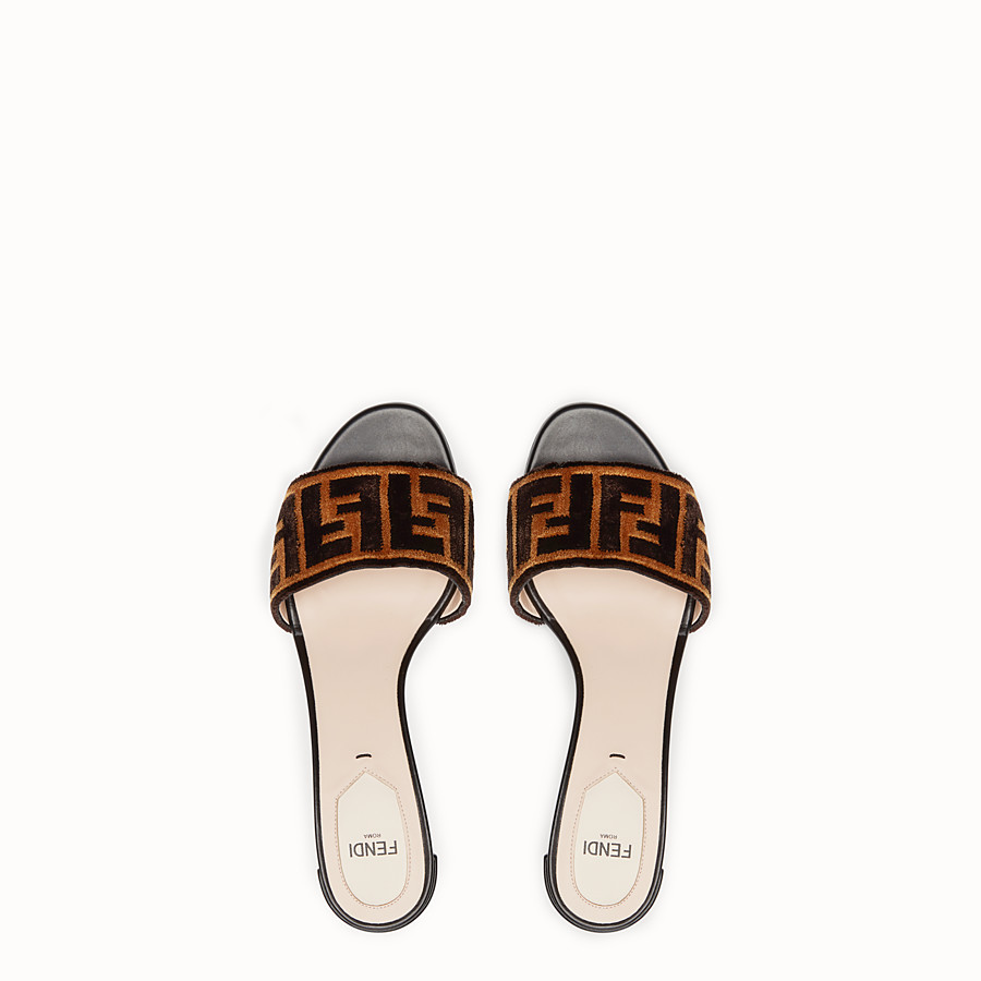 FENDI SLIDES - Multicolour leather and fabric sandals - view 4 detail