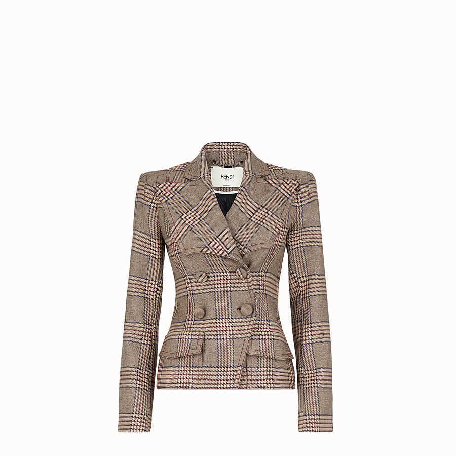 FENDI JACKET - Prince of Wales check wool jacket - view 1 detail
