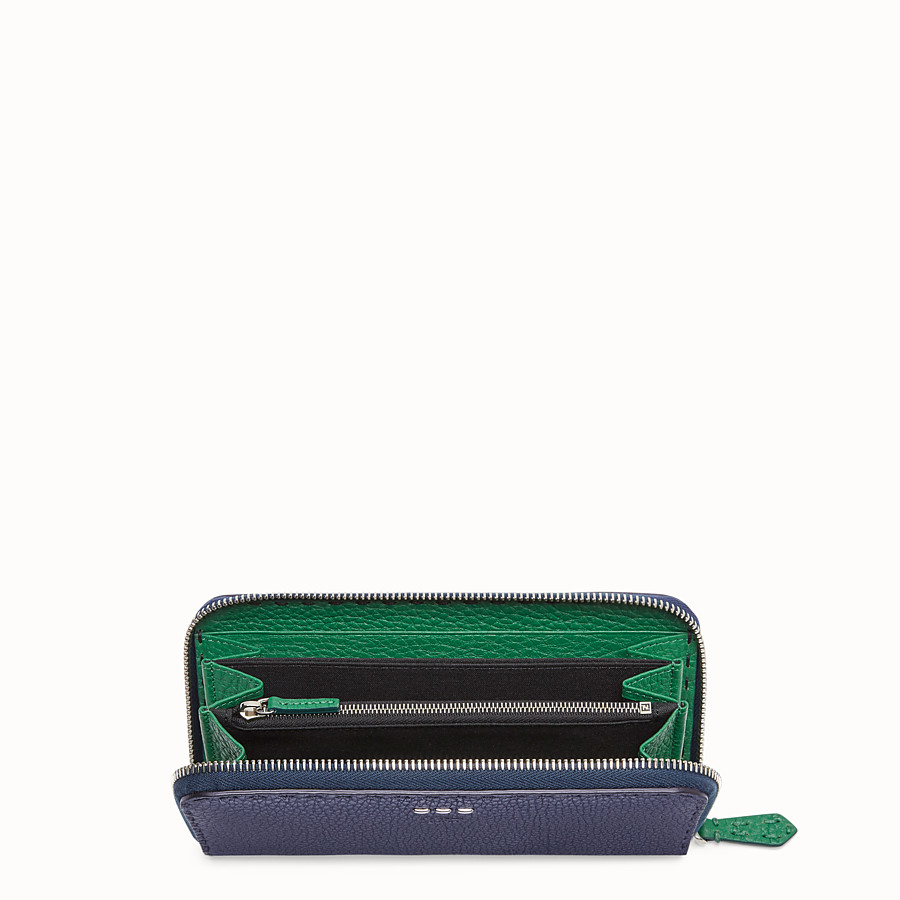 FENDI ZIP-AROUND - Blue leather wallet - view 3 detail