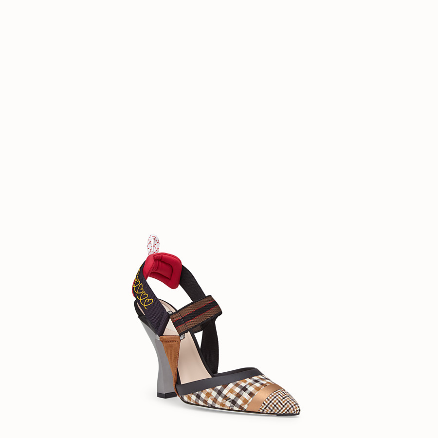 FENDI COURT SHOES - Multicolour wool slingbacks - view 2 detail