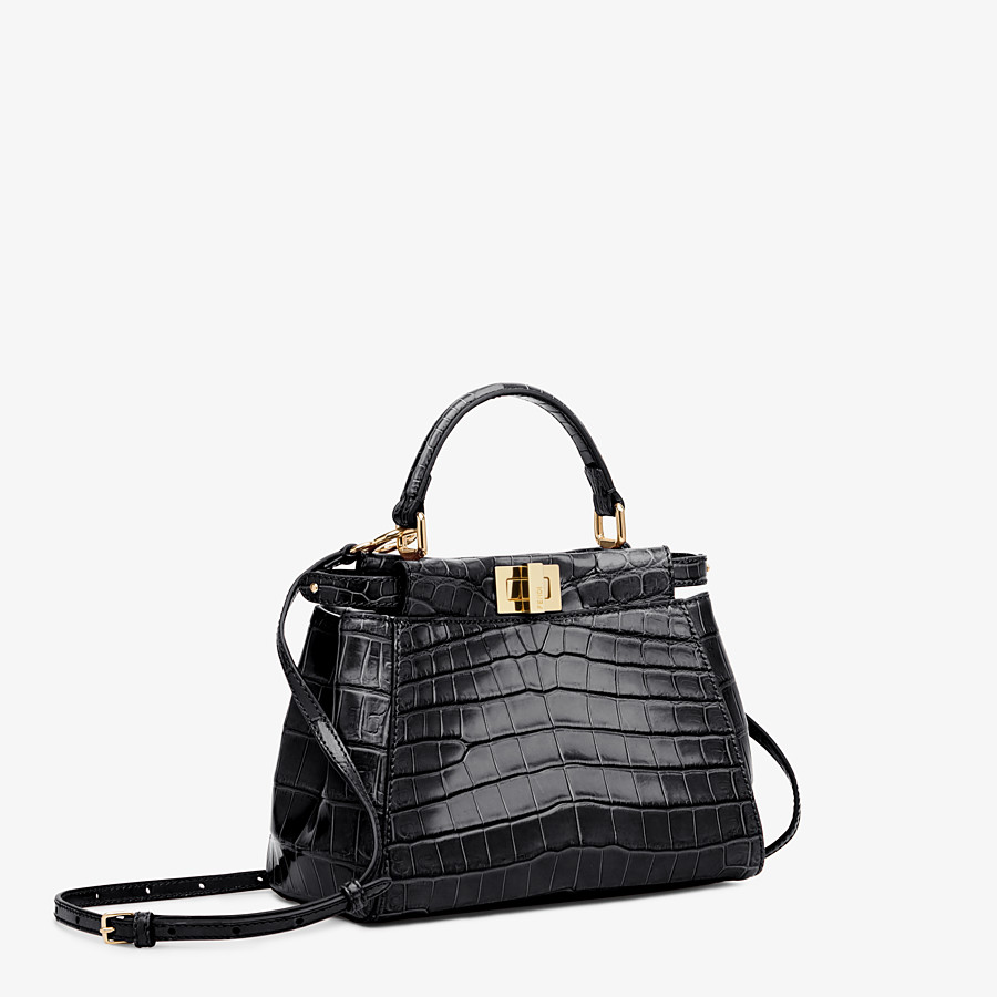 FENDI PEEKABOO MINI - Black crocodile bag - view 2 detail