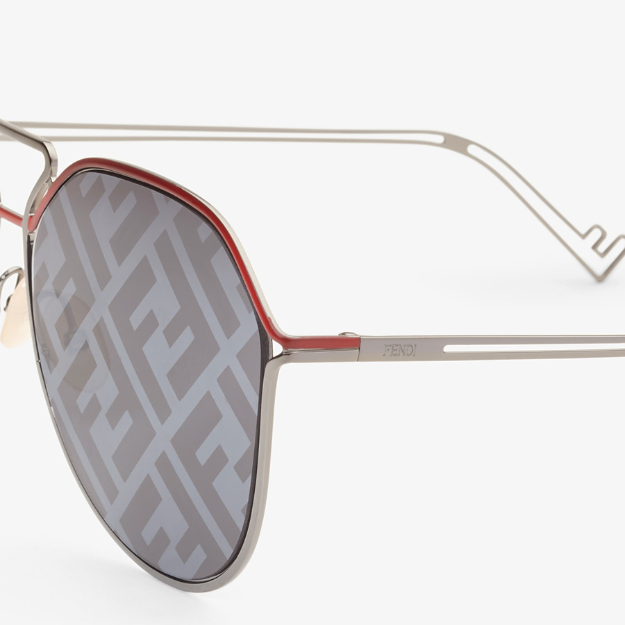 FENDI FENDI GRID - Red and ruthenium sunglasses - view 3 detail
