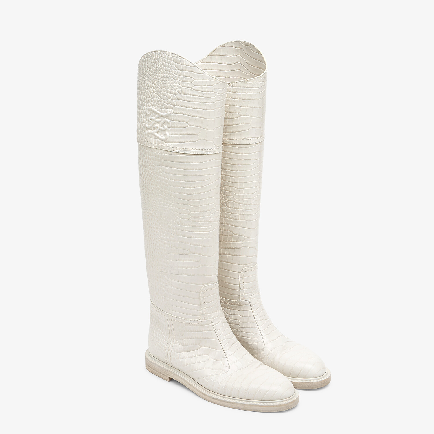 FENDI KARLIGRAPHY - White leather boots - view 4 detail