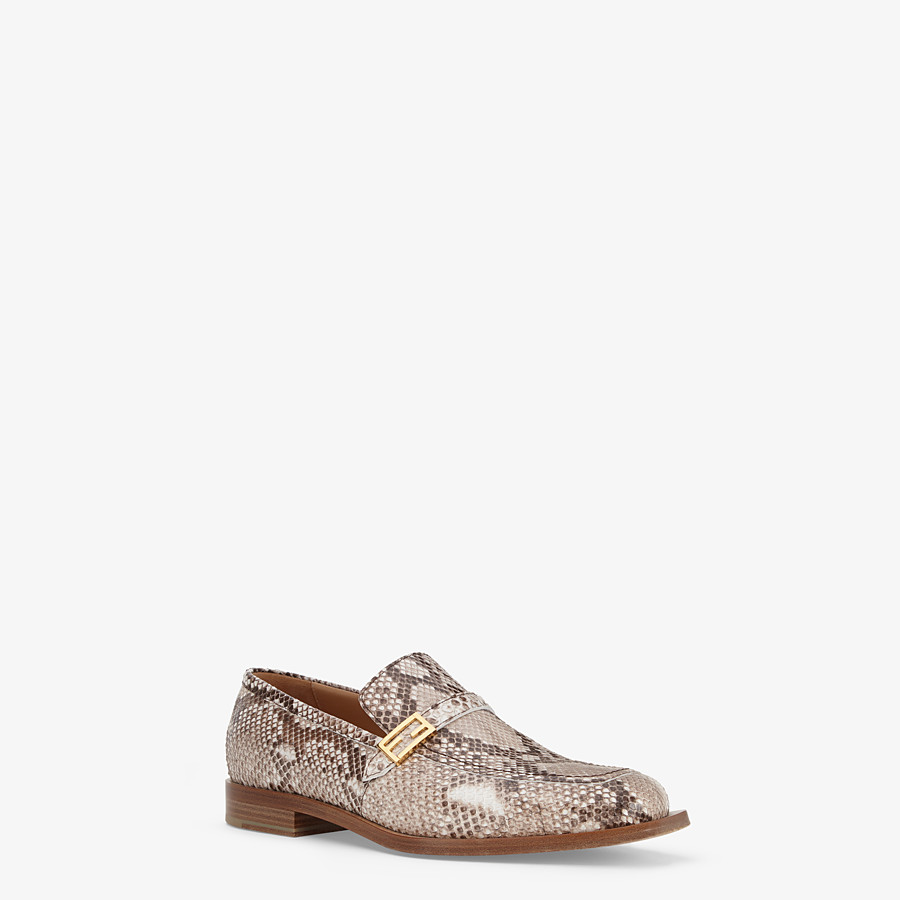 FENDI LOAFERS - Beige python loafers - view 2 detail