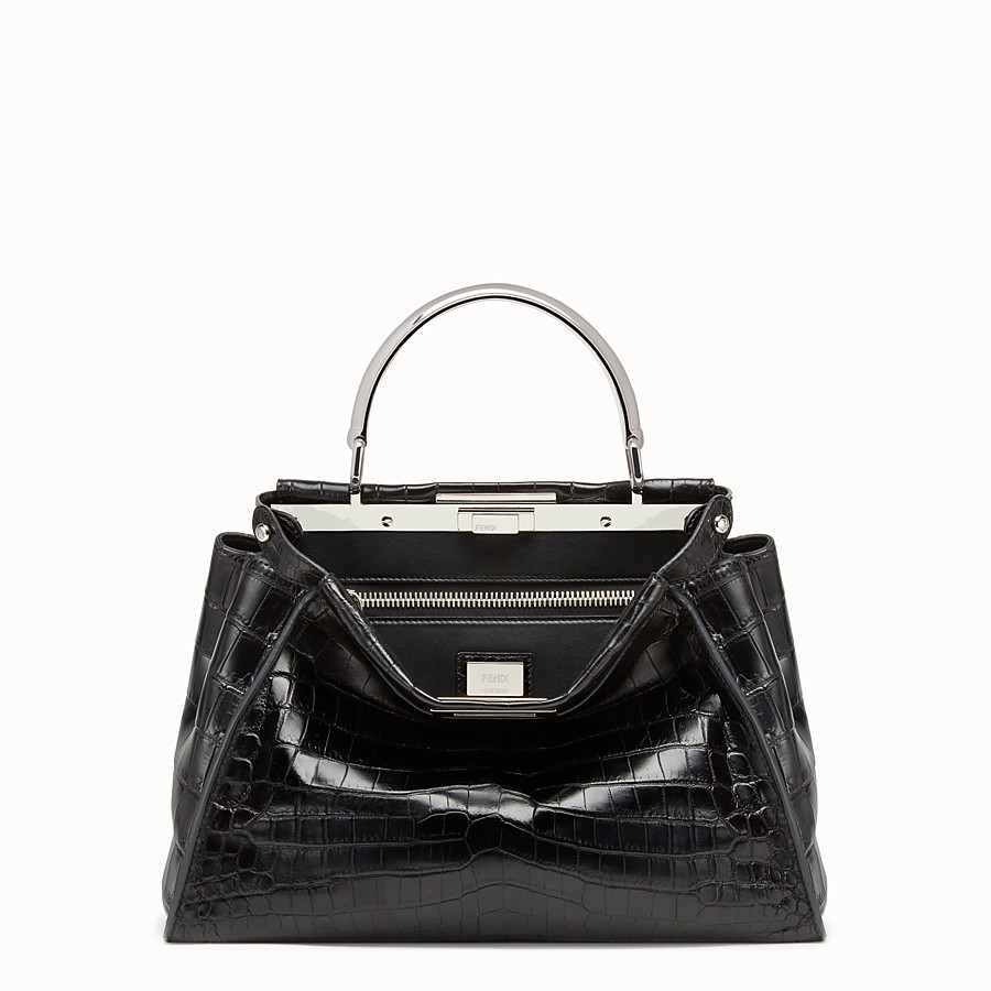 FENDI PEEKABOO REGULAR - Black crocodile leather handbag. - view 1 detail