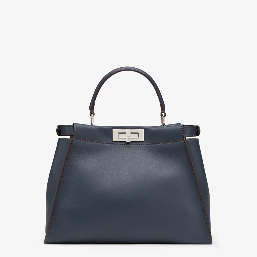 FENDI PEEKABOO ICONIC MEDIUM - Blue leather bag with exotic details - view 3 detail